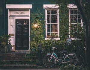 vintage, house, bicycles